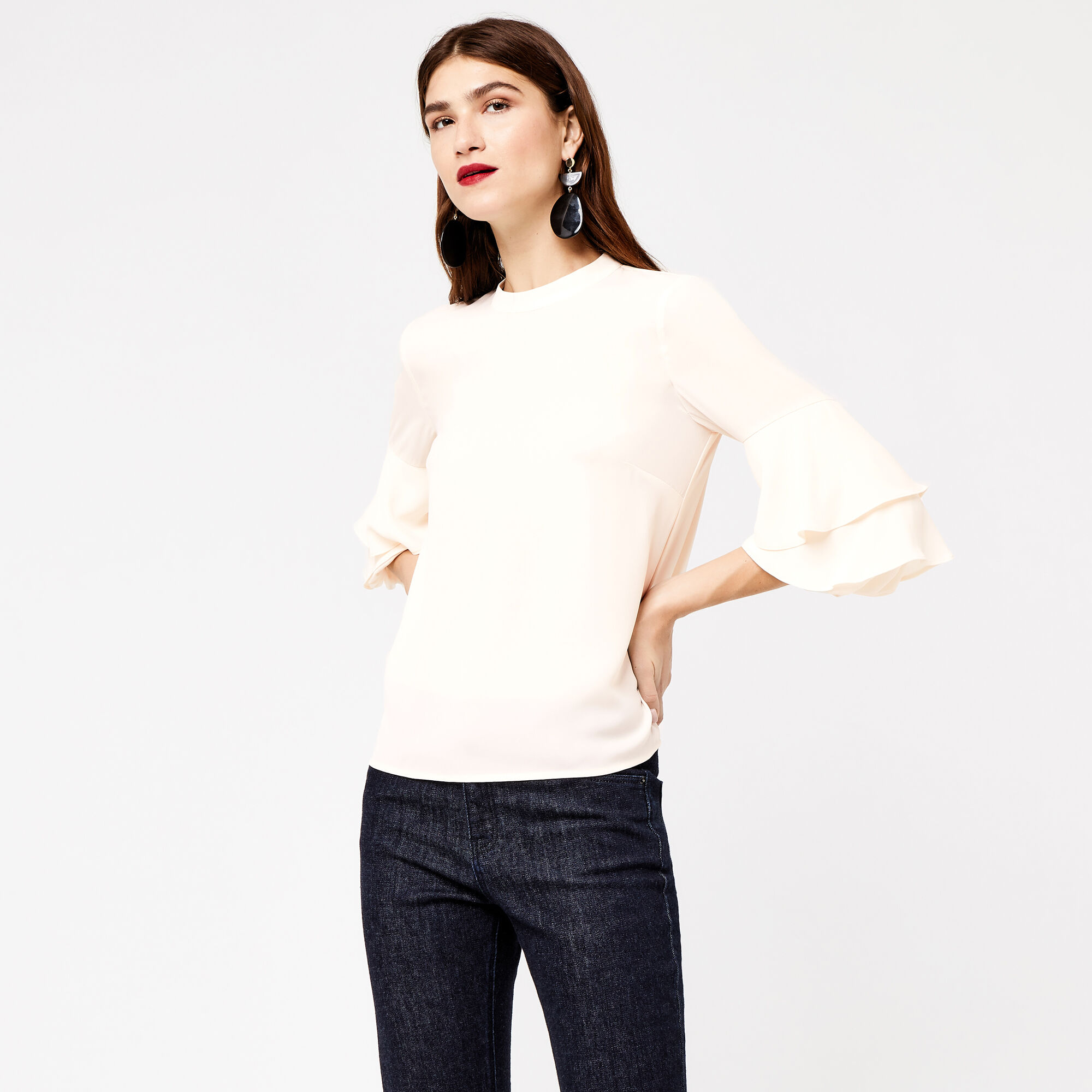 Warehouse, TIERED SLEEVE TOP Cream 1