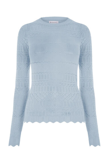 Warehouse, PRETTY POINTELLE JUMPER Light Blue 0