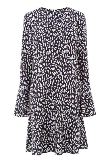 Warehouse, ANIMAL FLUTE SLEEVE DRESS Multi 0