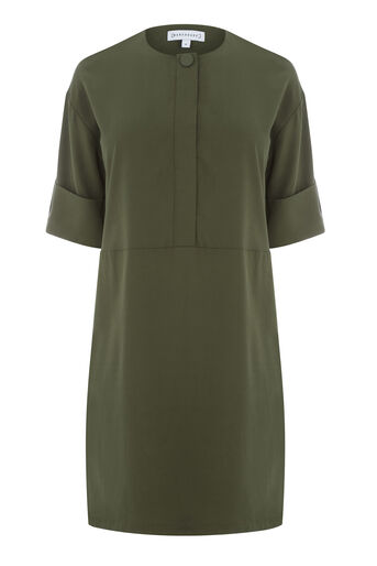 Warehouse, POPPER DETAIL DRESS Khaki 0