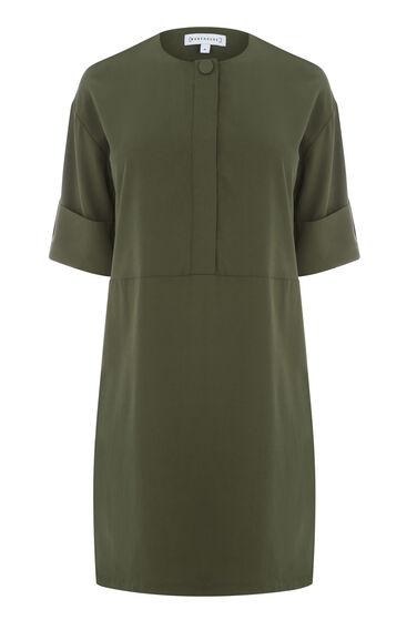 Warehouse, POPPER DETAIL DRESS Khaki 0