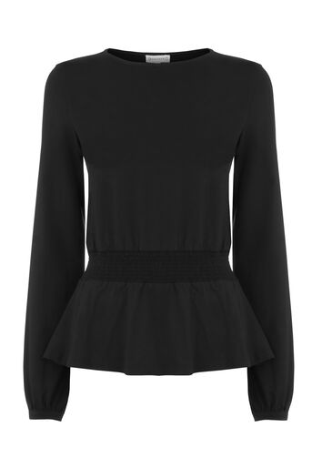 Warehouse, SHIRRED WAIST PEPLUM TOP Black 0