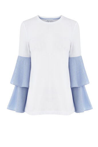 Warehouse, TIERED STRIPE SLEEVE TOP Blue Stripe 0