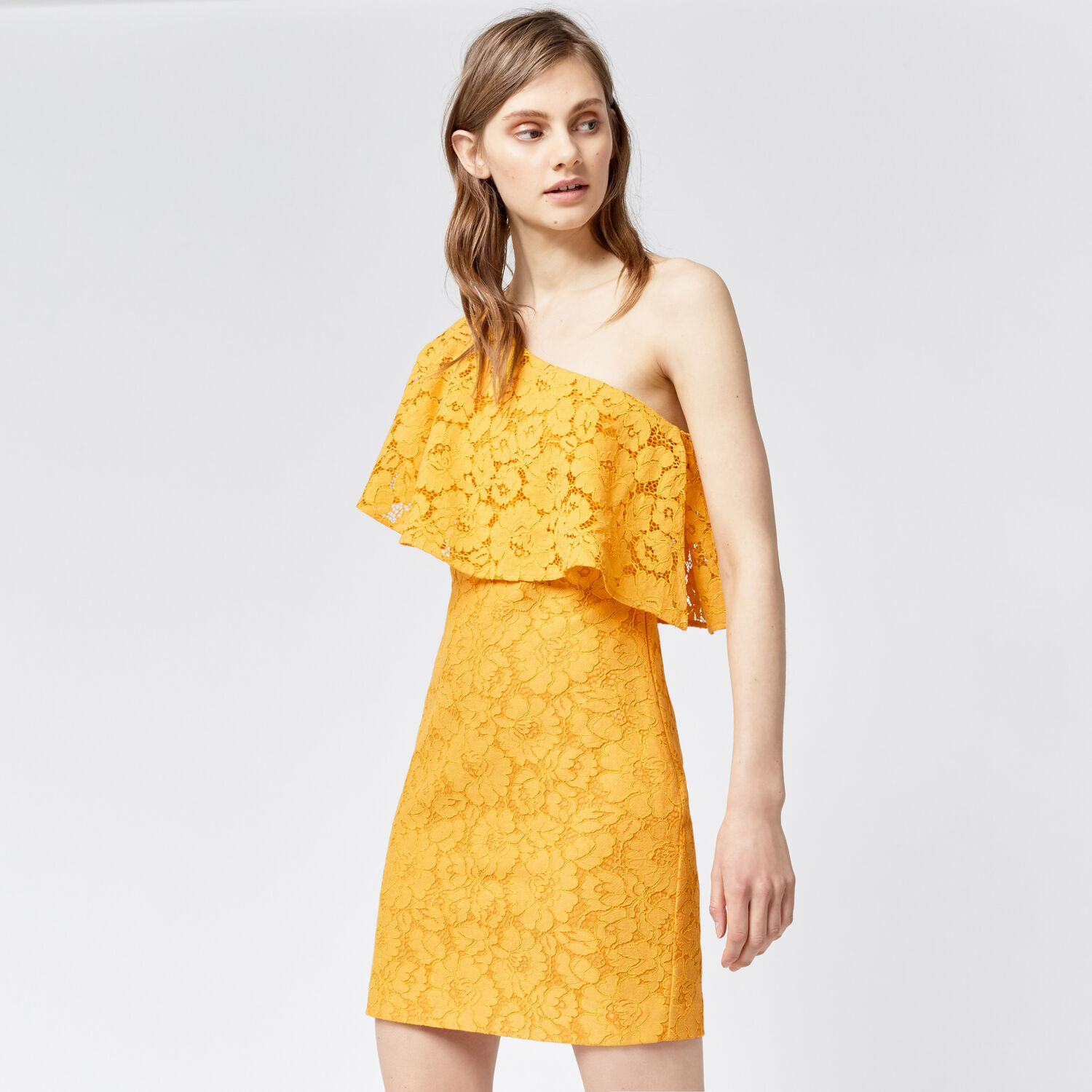 Warehouse, BONDED LACE ONE SHOULDER DRESS Yellow 1