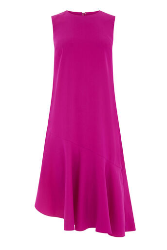 Warehouse, RUFFLE HEM DRESS Bright Pink 0