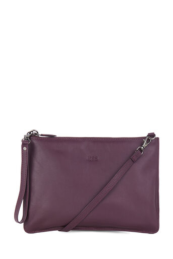 Warehouse, MONOGRAM LEATHER TOP ZIP BAG Berry 0