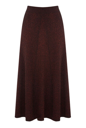 Warehouse, SPARKLE MIDI SKIRT Dark Red 0