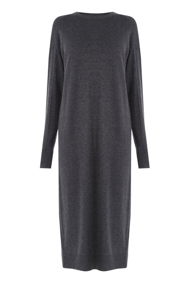 Warehouse, CREW KNIT JUMPER DRESS Dark Grey 0
