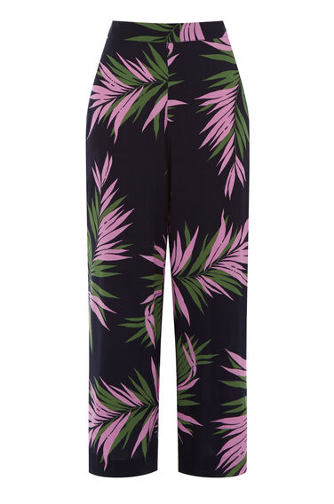 Warehouse, GRAPHIC PALM TROUSERS Blue Pattern 0