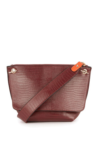 Warehouse, REVERSIBLE STRAP SHOULDER BAG Berry 0
