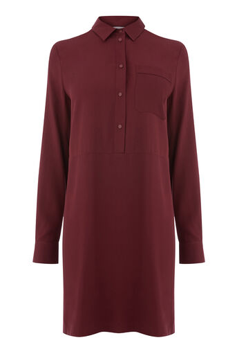Warehouse, POPPER PLACKET SHIRT DRESS Dark Red 0