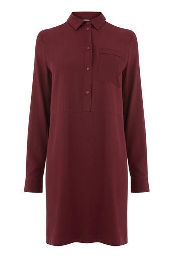 Warehouse, POPPER PLACKET SHIRT DRESS Dark Red 0