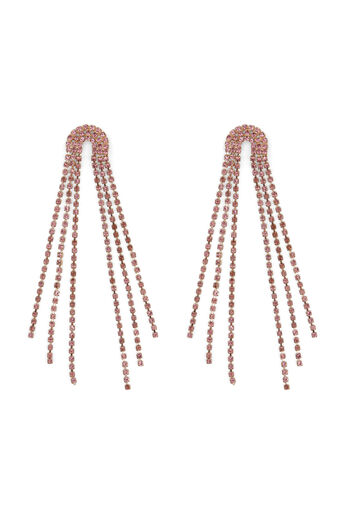 Warehouse, CURVED CRYSTAL DROP EARRING Light Pink 0