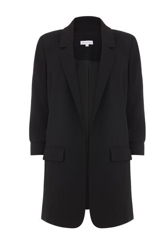 Warehouse, ROUCHED SLEEVE JACKET Black 0