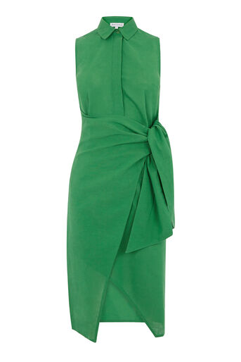 Warehouse, TIE SIDE SHIRT DRESS Bright Green 0