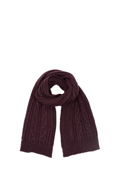 Warehouse, Cable Knit Scarf Berry 0
