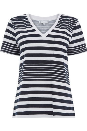 Warehouse, STRIPE SLUB V NECK TEE Blue Stripe 0