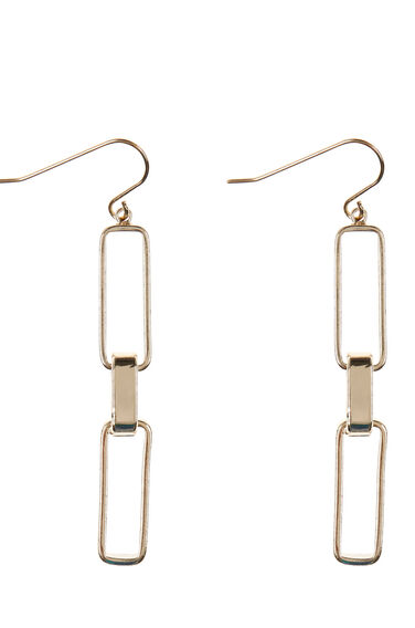 Warehouse, BOX CHAIN DROP EARRINGS Gold Colour 0