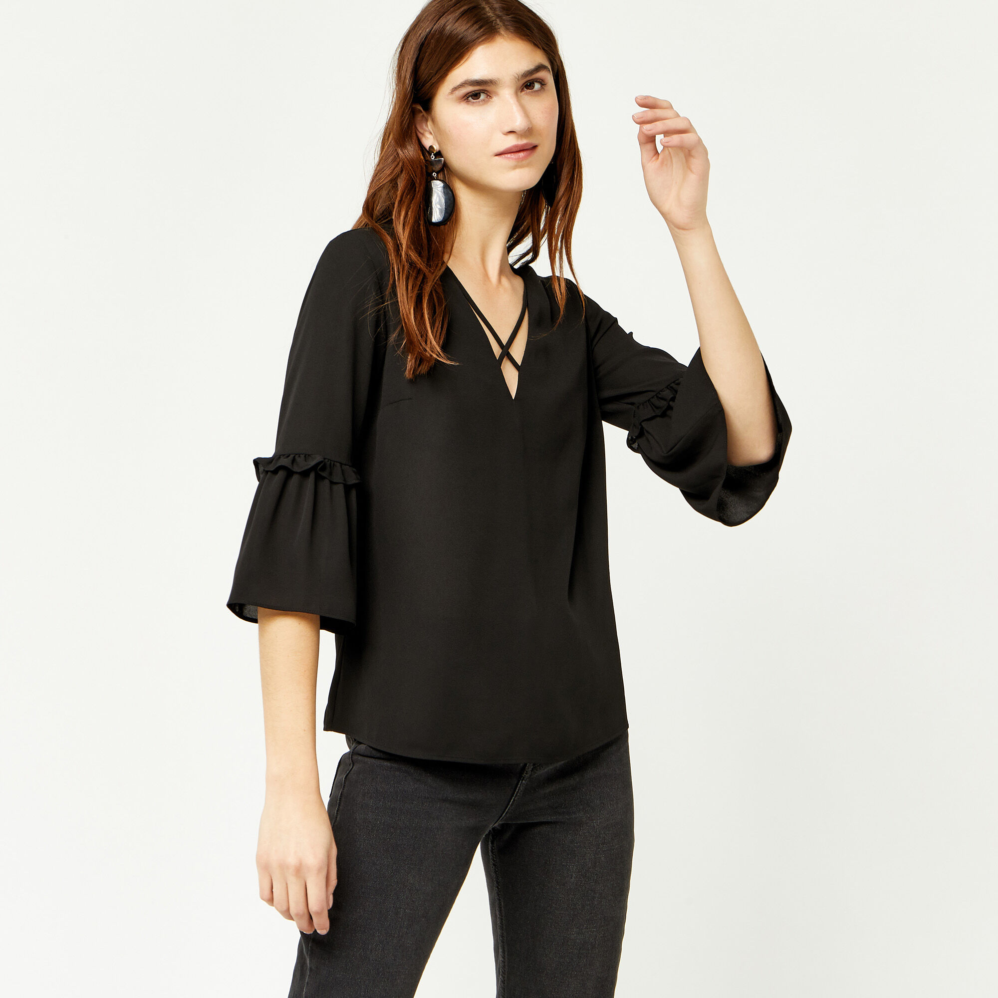Warehouse, CROSS FRONT TOP Black 1