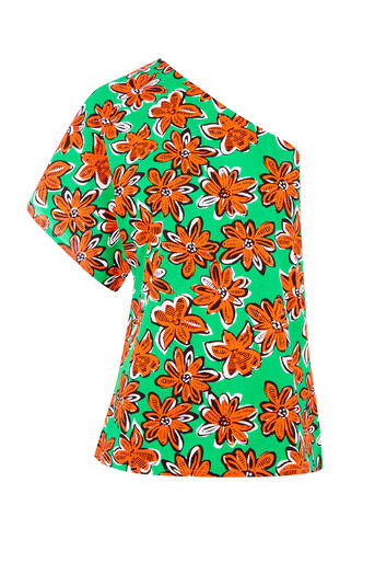 Warehouse, WOODBLOCK DAISY TOP Green Print 0