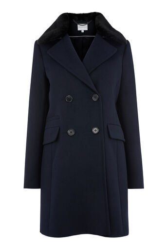 Warehouse, Double Breasted Faux Fur Coat Navy 0