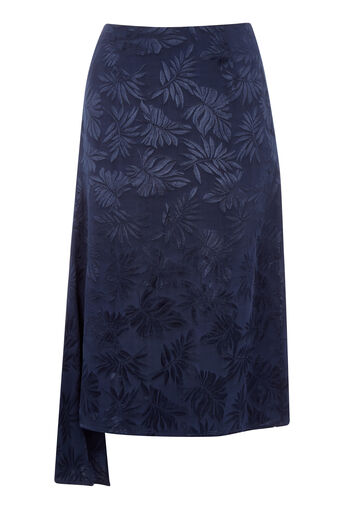 Warehouse, LEAF JACQUARD SKIRT Navy 0