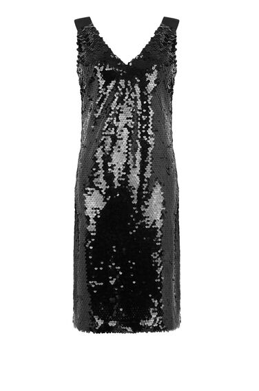 Warehouse, DISC SEQUIN V NECK DRESS Black 0
