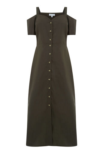 Warehouse, BUTTON THROUGH COTTON DRESS Khaki 0