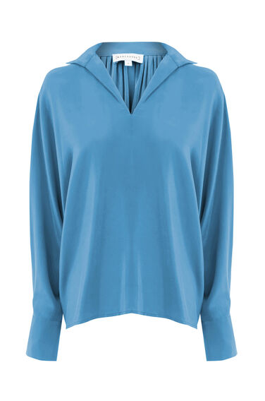 Warehouse, SILK PLEAT BACK BATWING SHIRT Bright Blue 0