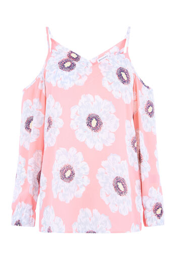 Warehouse, MELODY FLORAL SPLIT SLEEVE TOP Pink Pattern 0