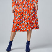Warehouse, FLOATING FLORAL SKIRT Orange 4