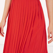 Warehouse, PLEATED SKIRT Bright Red 4