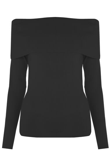 Warehouse, DEEP BARDOT JUMPER Black 0