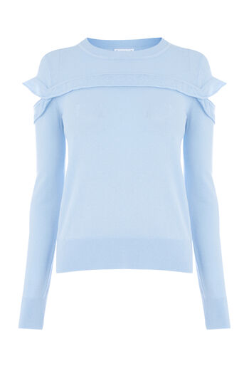 Warehouse, FRILL YOKE JUMPER Light Blue 0
