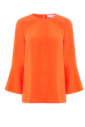 Warehouse, FLUTED SLEEVE TOP Orange 0