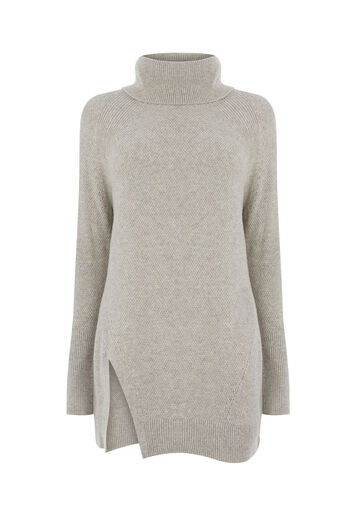 Warehouse, STITCHY COWL NECK JUMPER Light Grey 0