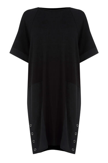 Warehouse, WOVEN MIX PANEL DRESS Black 0