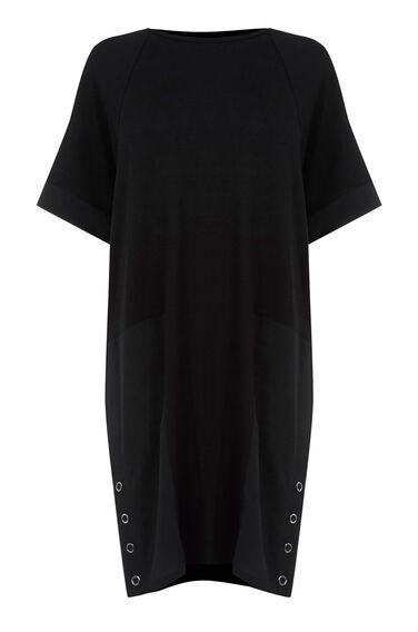 Warehouse, WOVEN MIX PANEL DRESS Black 0