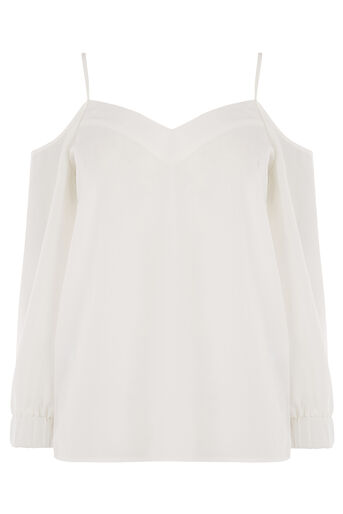 Warehouse, CAMI COLD SHOULDER TOP Cream 0