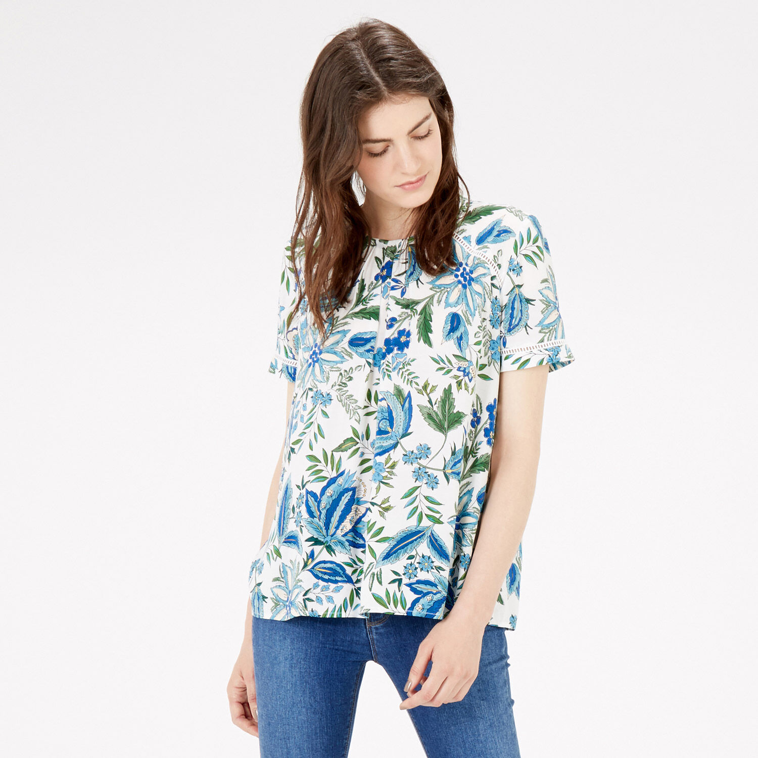 Warehouse, BOTANICAL FLORAL TRIM TOP Neutral  Print 1