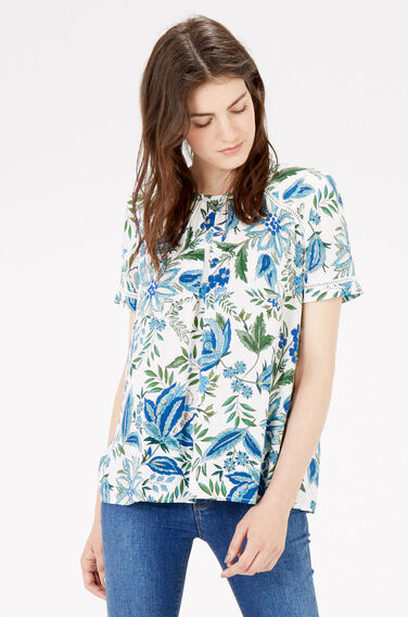 Warehouse, BOTANICAL FLORAL TRIM TOP Neutral  Print 0