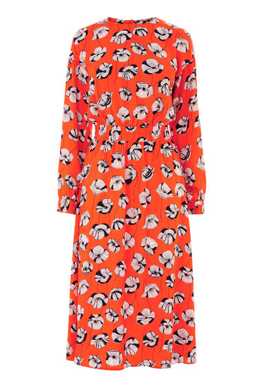Warehouse, FLOATING FLORAL MIDI DRESS Orange 0