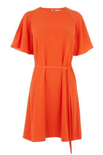 Warehouse, PLEATED SLEEVE DRESS Bright Red 0