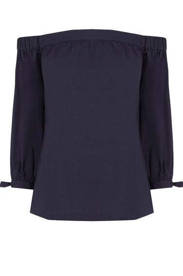 Warehouse, Cotton Off The Shoulder Top Navy 0