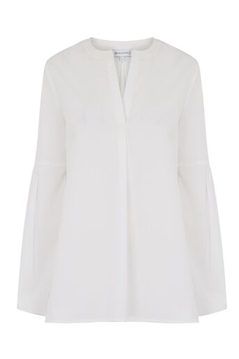 Warehouse, COTTON BLOUSON SLEEVE TOP White 0