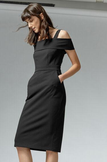 Warehouse, CREPE OFF SHOULDER DRESS Black 1