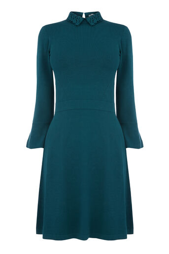 Warehouse, LACE COLLAR FLARE CUFF DRESS Dark Green 0