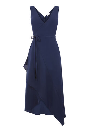 Warehouse, ASYMMETRIC WRAP CAMI DRESS Navy 0