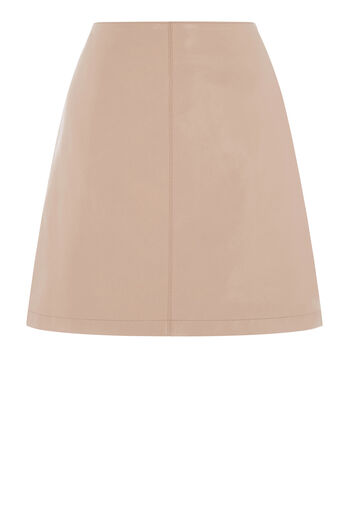 Warehouse, Leather Pelmet Skirt Light Pink 0