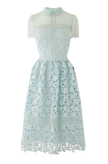 Warehouse, Lace Shirt Dress Light Blue 0